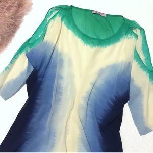 Calypso Sheer Silk Caftan Tunic Dress or Coverup